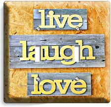 LIVE LAUGH LOVE RUSTIC WOODEN DESIGN DOUBLE LIGHT SWITCH WALL PLATE KITCHEN ROOM