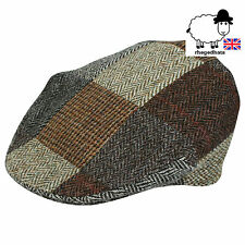 Genuine Harris Tweed Patchwork Cap M, L, XL, XXL Made in UK