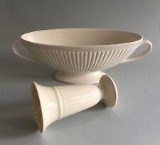 """Wedgwood of Etruria Ivory Cream Ribbed 15"""" 2 Handled Vase & 6 1/2"""" Vase"""