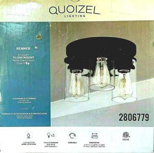 """Quoizel Renner 3-Light Flush Mount Matte Black 2806779 New 6.75"""" x 11.25"""""""