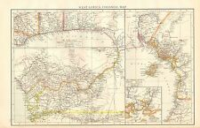 1895 LARGE ANTIQUE MAP-WEST AFRICA, COLONIAL MAP