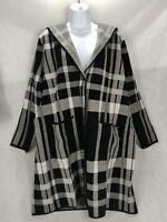 Charter Club Womens Jacket Large Black Plaid Coatigan knit Long Hooded