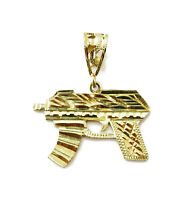 10K Yellow Gold Uzi Gun Pistol Necklace Pendant Charm ~ 2.7