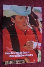 1971 Print Ad Marlboro Man Cigarettes ~ Western Cowboy w/ White Hat & Red Shirt