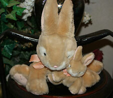 Russ Berrie Plush Apricot Bunny Rabbit Mommy w/ Baby Lovey Toy Tan Peach Bow F1