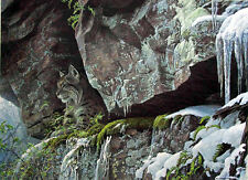 "Robert Bateman AT THE CLIFF - BOBCAT Artist ""Signature Edition"""