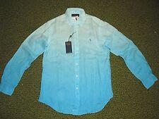 Men's $125. (M) POLO-RALPH LAUREN Blue 100% Linen Shirt