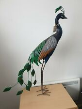100cm Large Exotic Blue Peacock Metal Garden Ornament Decoration Bird Statue