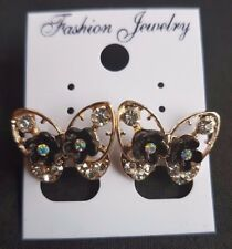 Gold Colour Butterfly Stud Earring With Black Crystal Flower Detail UK SELLER