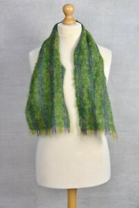 """MOHAIR Green & Purple flecked square small scarf 48"""""""