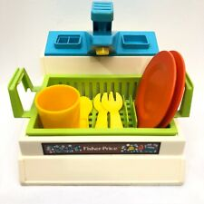 Vintage Fisher Price Pretend Play Kitchen Sink Set Dishes Forks Cup Drying Rack