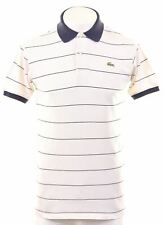 LACOSTE Mens Polo Shirt Size 4 Small White Striped Cotton  FD15