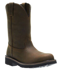 "New Mens Wolverine W10833 10"" Ranchero Soft Toe Brown Pull Slip On Work Boots"