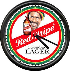 Red Stripe Jamaican Jamaica Beer Retro Bar Tavern Rasta Vintage Sign Wall Clock
