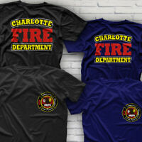 Fire Department FIREFIGHTER CHARLOTTE Nort Carolina T-Shirt Size S-3XL
