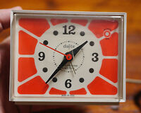 Vintage 1960s Westclox Dialite Orange Faced Bedside Desk Alarm Clock USA