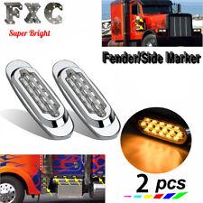 "2x 6.5"" LED Side Marker Turn Signal Light For Peterbilt Mack 16 LED Clear/Amber"