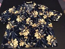 Koret Hawaiian Style Shirt with Shoulder Pads Flowers Size 12 Button Down Blue