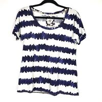 Anthropologie Lilka Top Womens Size Small S White Blue Wavy Stripe Swing Tee