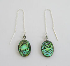 """IAJ"" Paua Abalone Oval, STERLING SILVER Threader Earrings w/ SWAROVSKI Crystal"