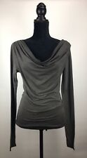 NWT Diesel Women's Top XS T-ULJS Long Sleeve Cowl Neck Black Casual Tee Shirt