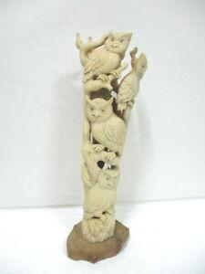 """Ancienne statue en os sculptée """" L'arbre aux chouettes """" sur socle bois"""