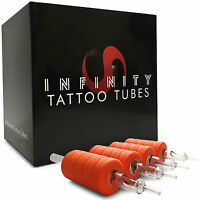 """20 Infinity Clear Disposable Tattoo Tubes 1"""" Grip with Tip - Round Flat Diamond"""
