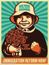 1st ORIG Release! RARO Shepard Fairey OBEY immigrazione RIFORMA ora Boy S/N Stampa
