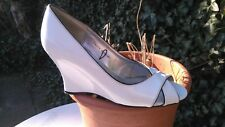 PATENT WEDGED WHITE/BLACK SHOES.PEEP TOE.SIZE 6