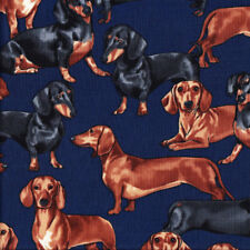 Dachshunds Brown and Black Dogs on Navy Pet Quilting Fabric FQ or Metre *New*