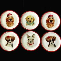 Cynthia Rowley Christmas Dogs Plates Melamine Appetizer or Dessert Set of 6