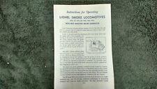 Lionel # 671 675 726 2020 2025 2026 Smoke Locomotives Instructions Photocopy