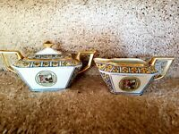 Vintage Nippon Hand Painted Double Handled Sugar Bowl with Lid and Creamer Set