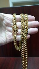 "36"" 10mm 14k Gold Plated Silver Miami Cuban Link Chain, 215 Grams"