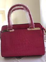 Pink Women Crocodile Handbag  Wristlet Tote Bag Shoulder Satchel Crossbody