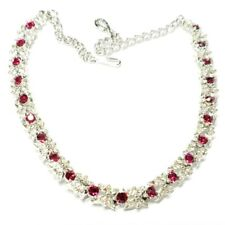 Vintage CORO signed Red & White Gemstone Necklace with hook clasp