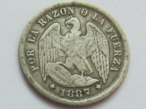 Chile - Silver Half Decimo coin dated 1887 - Good filler/collectable coin