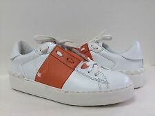 New Valentino Women's Rockstud Studded Sneakers WHT Orange Striped Leather Sz 36