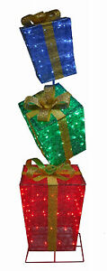 56-522-087 LED Lighted Gift Box Christmas Decoration, Collapsible, 72-In., 150