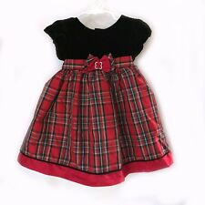 Baby Girls Sophie Rose Christmas Holiday Red & Black Plaid Dress 18m