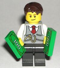 LEGO City RICH GUY MINIFIGURE w/ $100 Dollar Bills Money/Vest/Tie/Watch/Banker