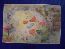 """Marie Pospisilova: """"Komposition mit Blumenwiese"""", Farbstift, quarelliert, 1954"""