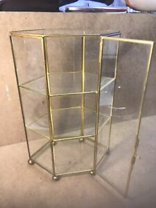 Fab Vintage Brass Glass Display Cabinet For Miniatures