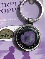 Purple Poppy* Remembering All War Animals  Keyring* Remembrance Day