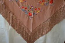 orig.espagnol Foulard de flamenco étole écharpe fleurs marron FL1