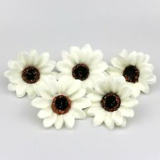 50X Artificial Silk Sunflower Heads 8cm White Fake Faux Flower Heads for Wedding