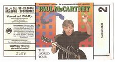 Paul McCartney    In Concert 1989   Ticket / Konzertkarte / Eintrittskarte
