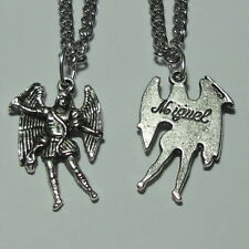 """Archangel St Michael Angel Charm """"Miguel"""" Medal & Chain Soldiers Police Officers"""