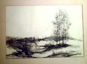Howard Lessnick original watercolor wood framed landscape signed painting art