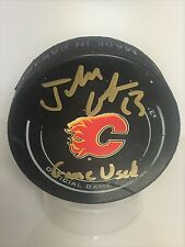 Johnny Gaudreau Calgary Flames Signed Autographed Official Game Used Puck